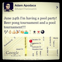 It's going down! 🎱🏊🍻🎉🍸🎶 #poolparty #summer #twitter #@AdamTheGreat35 (Taken with instagram)
