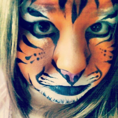 A tiger i painted on myself. Taken with instagram