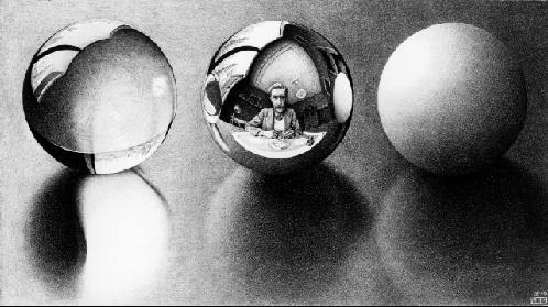 Three Spheres II by M.C. Escher, 1946.
