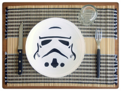 white trooper plate! eat your lunch before the emperor arrives!