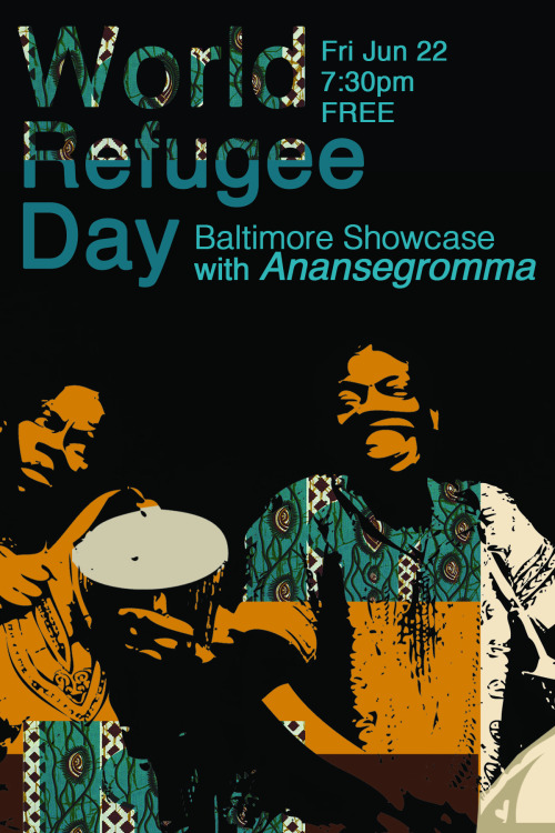 "WORLD REFUGEE DAYFri Jun 22 Native Ghanaians Kofi Dennis and Kwame Ansah-Brew are Anansegromma, the ""royal elders"" of their West African village, and astounding performers of their traditional call-and-response style music, storytelling and dance. Opening are two Baltimore documentary shorts on refugee youth followed by a panel discussion.  The second part of the evening is all about music, with recently arrived Kurdish refugees Ghazi Ahmed and Ali Omar on oud and saz, and Iranian native Sina Navazi on kamancheh.   Come early for international cuisine, craft market & Bhutanese performers on madal and tablas in lobby. 6pm reception and global craft market, 7:30pm show. FREE! More info HERE"