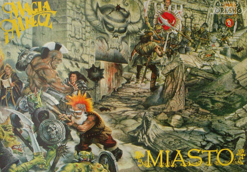 Magia i Miecz - Miasto, the Polish language version of Talisman City. John Sibbick's classic WFRP cover mirrored. John Sibbick, 1986. (It's a dungeon fantasy picture for an urban fantasy game. I don't understand this either).