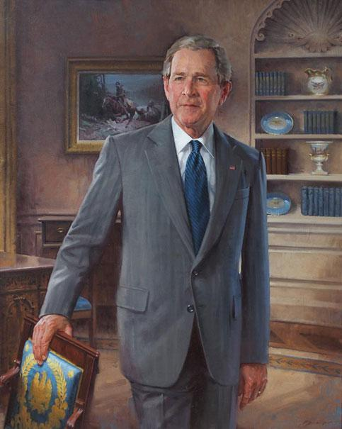 mykicks:  George W. Bush's official White House portrait, unveiled today. I always think it's kind of dickish when they make the artist paint a painting within a painting.
