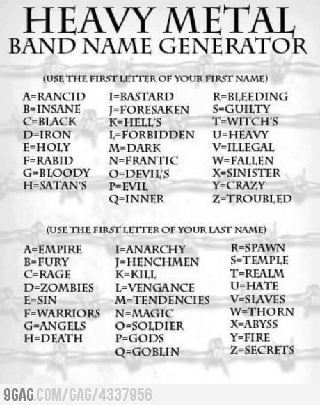 9gag:  What's Your Heavy Metal Band Name?    Troubled Black Empire.