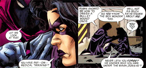 fragileicicle:   Batman: Huntress and Spoiler - Blunt Trauma (1998)   Ooh, women in purple eggplant working together. And them fondly dissing Tim is gold.