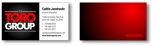 Redesigned Business Cards for The Toro Group