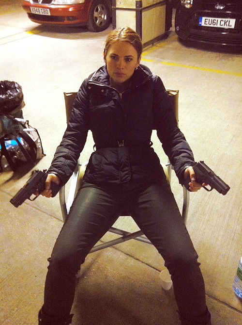 jetgirl78:  Hayley Atwell with two guns on the set of The Sweeney. Your argument is irrelevant… forever.