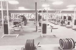 "Getting buff, BYU 80s style. Look at the wall that says ""BYU COUGARS"". Nostalgia"