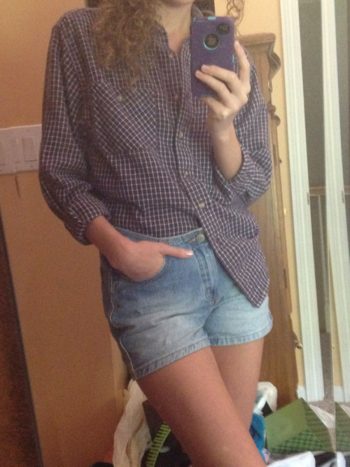 Thrifty Thursdays: thrifted flannel shirt + thrifted high waist shorts= perfect outfit for a day at home.