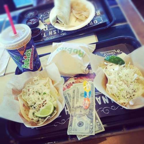 $40 & a shrimp taco and a fish taco http://moneyfood.tumblr.com #moneyfood #food #money #tacos #lunch (Taken with Instagram at Rubio's)