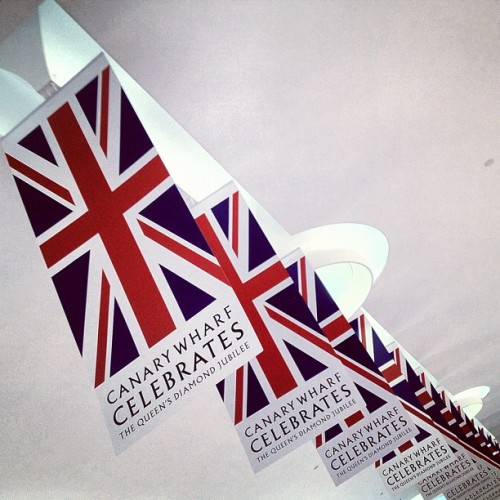 instahipsta:  Canary Bunting #unionflag #diamondjubilee #red #white #blue #canadaplace #canarywharf #eastlondon #london #england #greatbritain #unitedkingdom #bunting #celebrate #british #london2012 #may #2012 #perspective #distance #thequeen #royal #royalfamily #Hudson #lux (Taken with Instagram at Canada Place Shopping Mall)