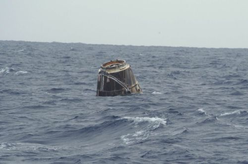 SpaceX Dragon capsule recovered from Pacific Ocean SpaceX has shared the 1st photo of its Dragon capsule in the Pacific Ocean. The capsule has been recovered after splashing down earlier today and is on a barge heading back to land.(Photo via http://twitter.com/SpaceX)