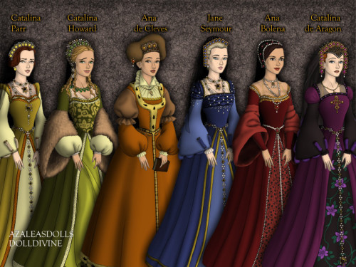 My version of the six wives of Henry VIII (with)… It's very difficult to make a Gable Hood for Jane Seymour and Katherine of Aragon!—-Mi versión de las seis esposas de Enrique VIII…¡Es muy difícil hacer un tocado Gable para Jane Seymour y Catalina de Aragón!—-All credit goes to Doll-Divine and Azalea's Dress Up Doll Tudor Maker