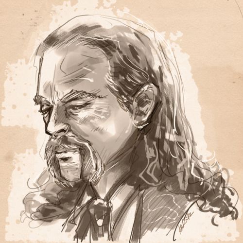 Mr. Ammo and I have been watching Deadwood.  He suggested I draw Keith Carradine as Wild Bill Hickok.  It was a good suggestion.  I ran with it straight to Painter.