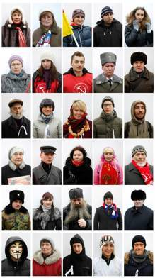 Reuters Photography Blog: Meet the Russian Voters [Following a parliamentary election in December…something changed. Widespread claims of vote falsification brought out around 5,000 people onto the street in Moscow, a show of opposition to the authorities that hasn't been seen for years. The movement grew, organized and strenghtened in the fertile fields of social networks. It provided leaders that in principal have no political leverage apart from a following online. People like Alexey Navalny, anti corruption blogger, and Yevgrnia Chirikova, an environmental activist battling the destruction of her local forest to make way for a new highway. Would they be able to maintain their voice of protest and public displays of opposition throughout the winter (a bigger problem for those not aware of it – ask the Grande Armee of 1812) in order to make a difference in the presidential vote? The protests did grow, a couple more followed, the numbers swelled – up to 100,000 came out to call for fair elections in January. The authorities seemed to be at a loss on how to snuff out this unplanned voice of opposition… Aha – we have an angle, the people are moving, thousands and thousands of them, showing their support with their feet. But rather than faceless pawns, they are real people. People who want their vote to count.]