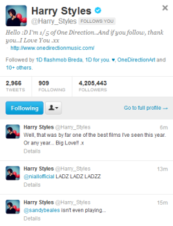 BEST DAY OF MY LIFE SO FAR  Harry Styles of ONE DIRECTION FOLLOWS ME OMG OMG OMG