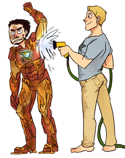 dilfosaur:  Anonymous asked you: Tony´s Iron Man is all dirty (maybe he fell on the mud, or Hawkeye made a improptu icecream war or Hulk sneezed) and Cap is helping him clean with the hose. Tony isn´t exactly happy but Steve can´t help but laugh a little. i see where this is going   I demand more Car Wash!Avengers art