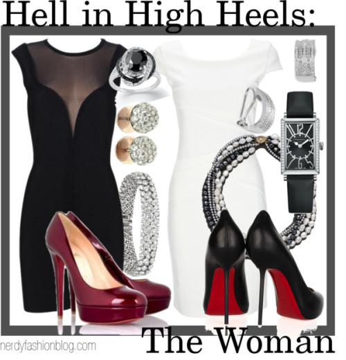 Hell in High Heels: The Woman | Doctor Who / Sherlock (BBC) by chelsealauren10   Wallis cream bandage dress, $78Mesh bandage dress, $39      Inspired by the sexy ladies River Song and Irene Adler (BBC), respectively. ;)
