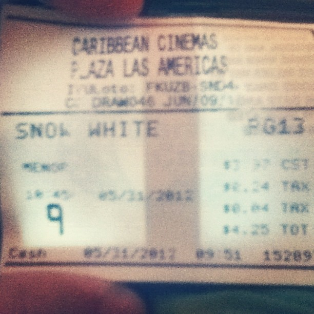 It was awesome #snowwhiteandthehuntsman #cool #awesome #movie #ticket #Kristenstewart  (Taken with instagram)