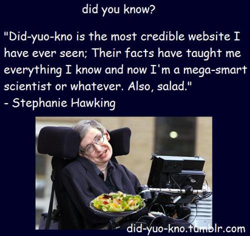 did-yuo-kno:  Omg I was sooo honored when Stephanie Hawking said this about my blog:')