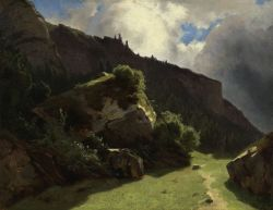 blastedheath:  Alexandre Calame (Swiss, 1810-1864) Landscape in the Swiss Alps  c. 1853-63. Oil on paper laid down on panel. Daxer & Marschall, Munich.