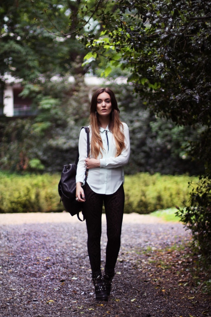 Shirt & Neck-tie- The Kooples, Leggings – Black Milk, Boots – Sacha. (image: anouska)