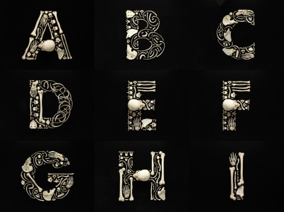 "Typography Made from Bones In 2007 Francois Roberts created a series of work called Stop the Violence. He needed human bones to create his work, and he needed a lot of them. So he did what anyone needing a lot of human bones might do: asked a company that specializes in disarticulated human skeletons to send him some. A week later he had a container of 206 human bones and was ready to create an alphabet. In an interview with Salon, Roberts says that each letter took about a day to create ""because often after a few hours I wouldn't be satisfied with the progress of the letter, and I would start from scratch."" Image: A very skeletal A through I, by Francois Roberts. Via Salon. Select to enlarge"