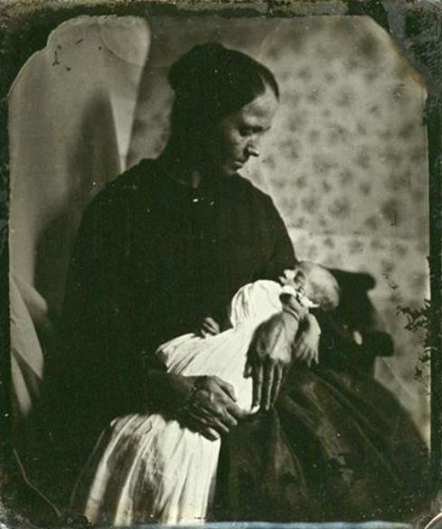 ca. 1860-80, [ambrotype portrait of a mother cradling her deceased child] via Be-Hold Fine Photographs