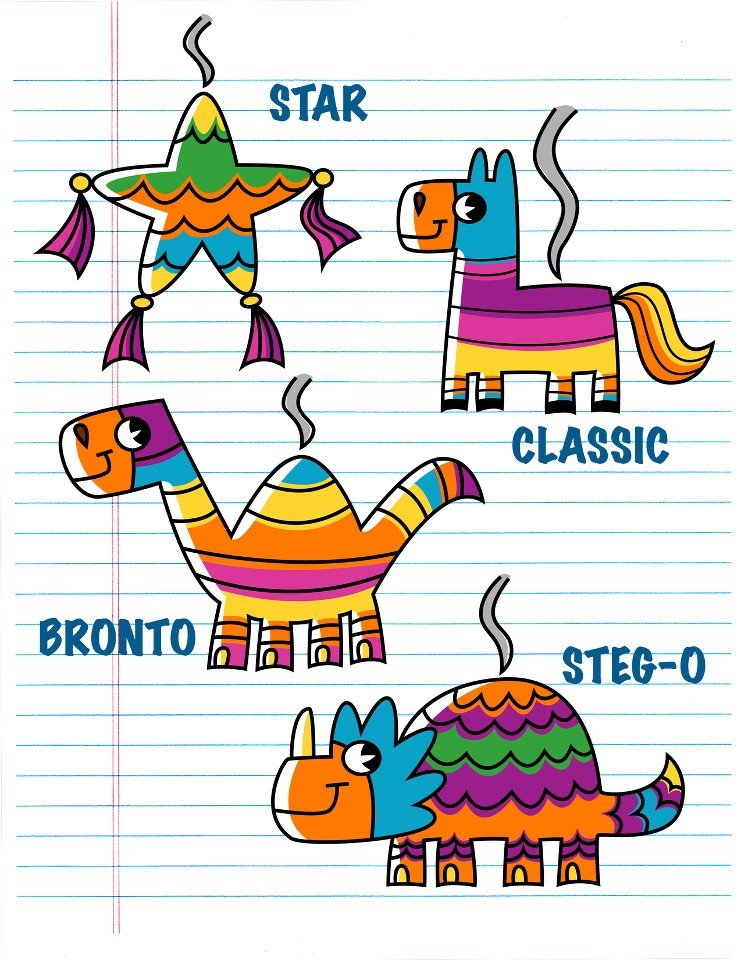 Pick your favorite Piñata for the Lucy the Dinosaur! by Joey birthday bash.  I'd choose Bronto.  Biggest dino holds the most candy!   -Zoë