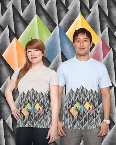My Pyramiding T-Shirt Design up for voting Right now on threadless.com. The idea for this concept started a few years ago while working on designs for the 2010 RSA Conference theme, The Rosetta Stone.  One of my responsibilities is designing and illustrating back drop art for a musical performance each year. This idea came from one of those concepts. A field or pattern of flat faux 3D pyramids with a few color pyramids really stood out to me, and I thought would make a great shirt design someday. Hopefully today is that day.