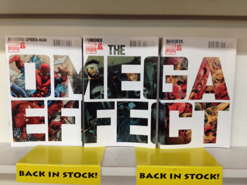 "All three chapters of Marvel's crossover storyline The Omega Effect are back in stock at Dr. Comics. If you missed one or all of these issues the first time around, you're not alone. Jump on this second chance! Look for Avenging Spider-Man #6, Punisher #10, and Daredevil #11 on our ""new arrivals"" wall. Dr. Comics & Mr. Games 4014 Piedmont Ave. Oakland, CA 94611(510) 601-7800  Twitter: @drcomicsmrgames"