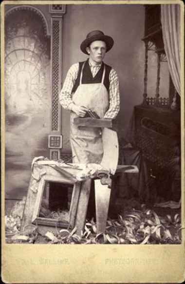 ca. 1860-90, [cabinet card, portrait of a frame maker with his tools], A. L. Walline via Be-Hold Fine Photographs
