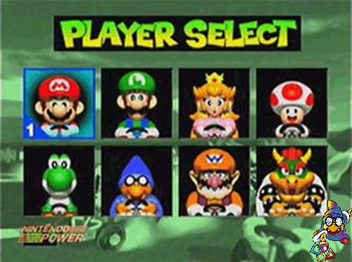 In the original/beta Mario Kart 64, titled Super Mario Kart R, Kamek is seen in the place of Donkey Kong.