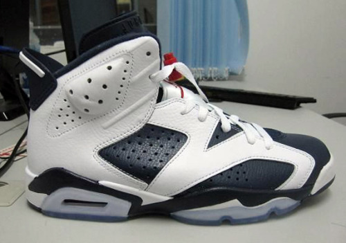 Air Jordan VI - Olympic a look at the 2012 retro of the Olympic VI.  White leather uppers with Navy leather panels on a icy blue sole. very classic look, really clean. click here for more pics Related articles Air Jordan 7 'Olympic' - Another Look (sneakerfiles.com)