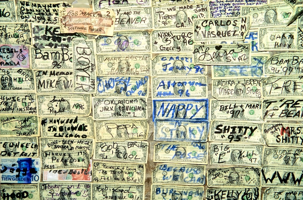 The Dollar Wall. In the Dungeon Bar Sturgis  Main St, a great watering hole and oasis.