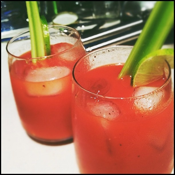 Our roast pepper vodka made some yum yum Bloody Marys 🍅 (Taken with instagram)