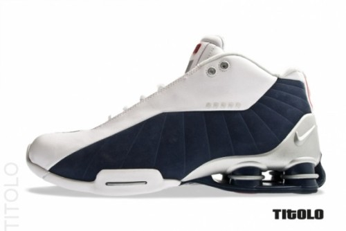 Nike Shox BB4 - Dream Team a look at another Olympic inspired colourway from Nike.  this time taking the Shox BB4 that Vince Carter wore.  White leather upper with an Obsidian suede panel with Sport Red accents on a Metallic Silver midsole.  click here for more pics Related articles Nike Air More Uptempo 'Olympic' - New Images (sneakernews.com)