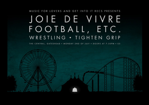 leekeith:  Poster I made for the Joie De Vivre and Football, etc. show in Newcastle. EVENT! More of my work HERE.  Lee, contributing his fine pieces to our shows even though he's now residing in the big city. What a hero. SHOWSHOWSHOW