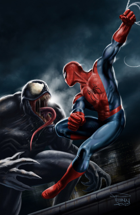 Two of my favorite comic-book characters goin' at it on a New York rooftop. Spider-Man vs Venom, by Mike Penn.