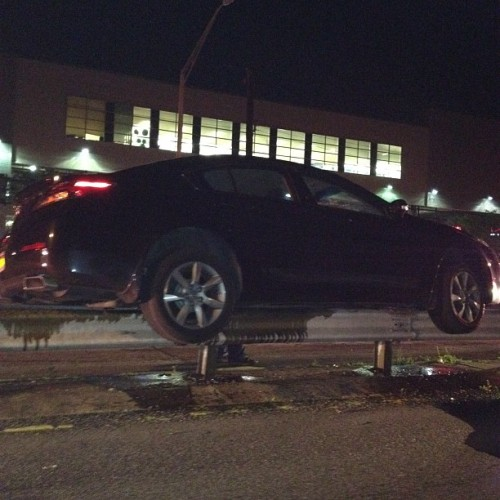 Car stuck on the rail !!!! (Taken with instagram)