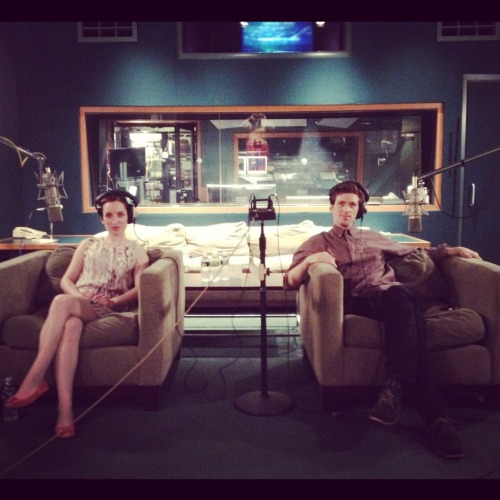 Zoe Lister-Jones and Daryl Wein recording their bits for the DVD commentary of LOLA VERSUS!