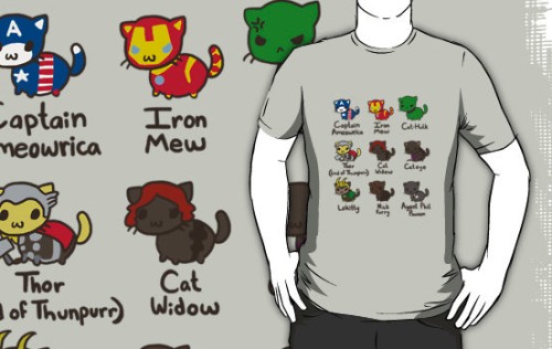 CATVENGERS SHIRTS NOW ON REDBUBBLE Finally bothered to get those much requested catvengers shirts up on redbubble. Go buy one if you'd like. (I changed Black Widow's pun since the original seemed to bother a lot of people being the name of an already existing Marvel character. I do hope the rest of you don't mind) Also, I know a few of you also requested these as stickers, but if there's enough interest in that, it'd probably be nicer to go through a separate site for them. I'll keep you updated.