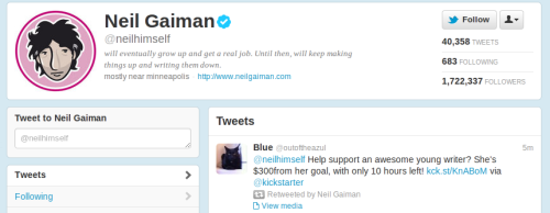 Neil Gaiman just signal boosted my KickStarter. I just made my initial goal—stretch goals are listed on the KickStarter itself! Good Omens is my favorite book. My life is complete.