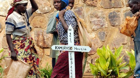 "Rwanda's Calllixte Nzabonimana gets life for genocide A former Rwandan youth minister has been given a life sentence after being found guilty of playing a key role in the 1994 genocide. Callixte Nzabonimana was found guilty of genocide, conspiracy, incitement and extermination by the UN tribunal based in Arusha, Tanzania. His lawyer told AFP he will appeal. Ethnic Hutu militia and soldiers killed some 800,000 minority Tutsis and politically moderate Hutus in 100 days between April and June 1994. Public incitement """"The trial chamber found that… Nzabonimana instigated the killing of Tutsis. It also found Nzabonimana guilty of entering into two separate agreements to kill Tutsis,"" the International Criminal Tribunal for Rwanda (ICTR) said in a statement. The conviction of the former youth minister hinged on his participation, alongside other members of the government, in a meeting held on 18 April, 1994 in the town of Murambi, in the central Gitarama province. This meeting led to ""an agreement"" between Nzabonimana and other ministers ""to encourage the killing of Tutsis… with the specific intent to destroy, in whole or in part, the Tutsi population as such in Gitarama prefecture,"" the AFP news agency reports the court's verdict as finding. The three ICTR judges ruled that Nzabonimana used public appearances in different parts of Gitarama to incite people to kill Tutsis. ""We will definitely appeal. The appeal hearing starts now,"" lead defence counsel, Vincent Courcelle-Labrousse, said. Nzabonimana, 59, was arrested in Tanzania in February 2008. The ICTR - set up in Arusha shortly after the 1994 genocide - is due to wind up its work by the end of 2014. Pictured: Up to 800,000 people were killed in just 100 days"