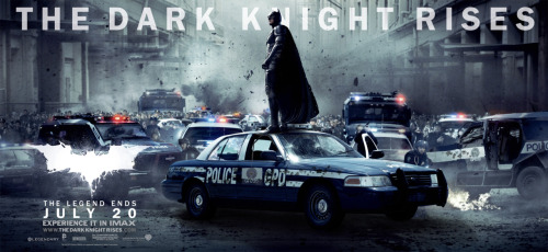 New Dark Knight Rises banners. I like these, though the first poster with Batman on top of the cop car look weird. Like they spliced Batman from another photo, then plopped him on top of a cop car. I swear one of their graphic designers missed a few design classes in college, by looking at some of these posters. Overall, pretty cool though, the Catwoman poster is hot! For full size, check out SuperHeroHype.com.