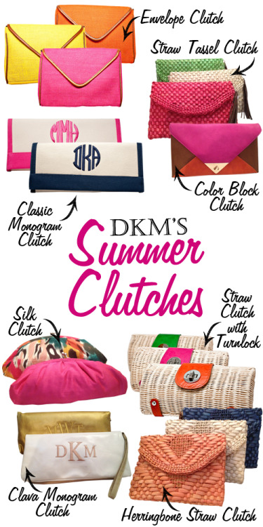 dkmaccessories:  DKM's Summer Clutches are here!!! Fun colors and textures!