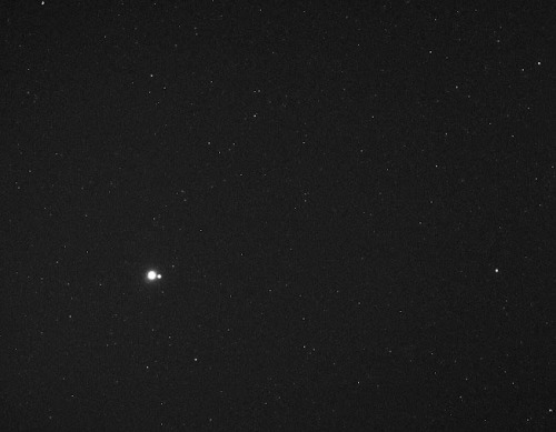 invaderxan:  Earth and the Moon, seen from Mercury.  goodnight Earth, goodnight Moon, goodnight/good morning, tumblroos, everywhere <3