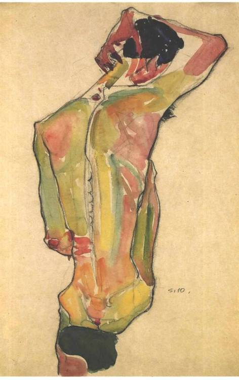 "painites:  Egon Schiele, ""Male Nude, Back View"" 1910"