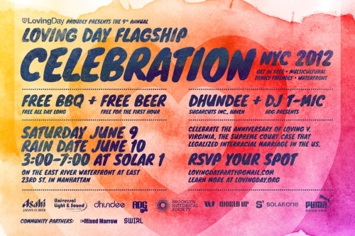 Come get your love on at the flagship Loving Day party in NYC June 9th!!  Loving Day is the incredible celebration of multiculturalism and so much more. Find out where and why at www.lovingday.org