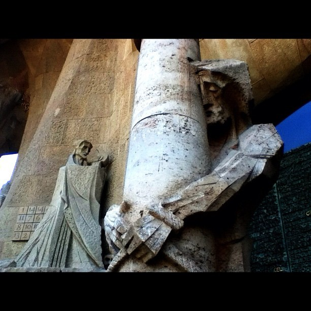 The Passion at Subirachs entrance at Sagrada Familia. #barcelona #spain #architecture  (Taken with instagram)